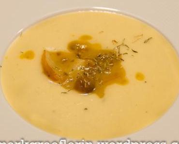Samstagseintopf: Kartoffel-Sellerie-Süppchen mit karamellisierten Maronen und Birne