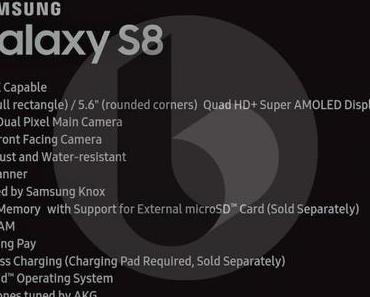 Samsung Galaxy S8: Das sind die technischen Daten vom kleineren Modell