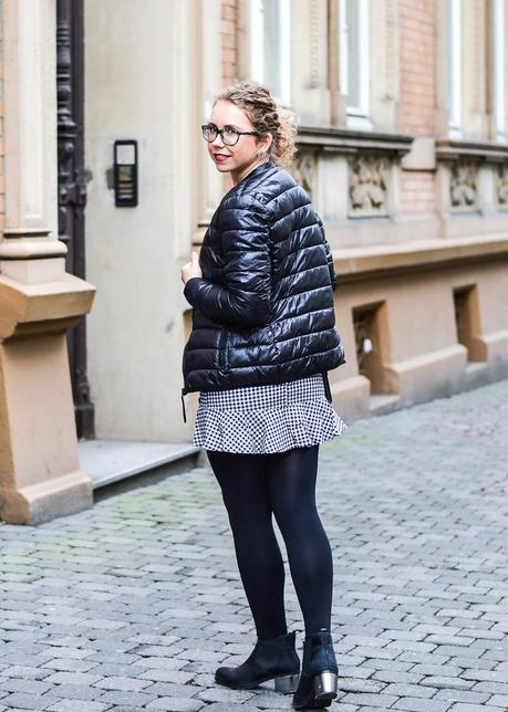 Outfit: Vichy Check Skirt with ruffles and Quilted Jacket from Karl Lagerfeld