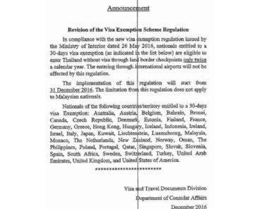Thailand hat Einreiseregularien geändert