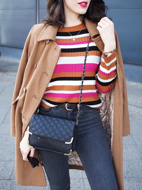 brown stripes about you edited streetstyle berlin blog samieze look how to wear brown denim casual shaping jeans H&M cookbook asos adidas superstar sneakers spring winter 2017 trends