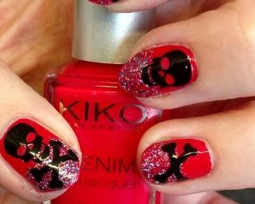 [Nails] KIKO DENIM nail lacquer 461 Art Poppy Red mit Totenköpfen