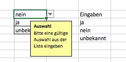 Excel 2016 Mac OS X: Wie werden Auswahllisten erstellt?