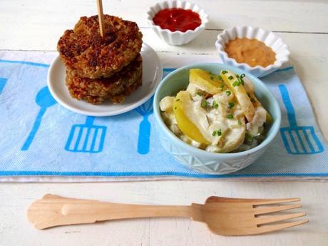 Grünkern-Buletten mit Kartoffelsalat