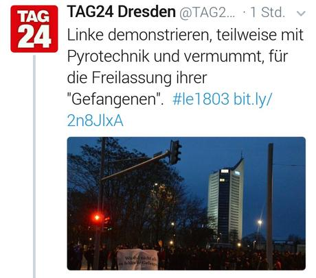 Leipzig, Linke, Pyrotechnik – Dresdner MoPo sieht rot