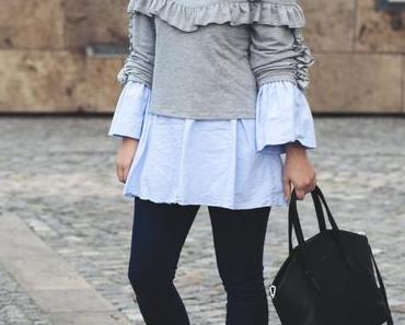 Frühlings-Outfit mit Sebago Plaza Tassel Slipper und Volants-Pullover