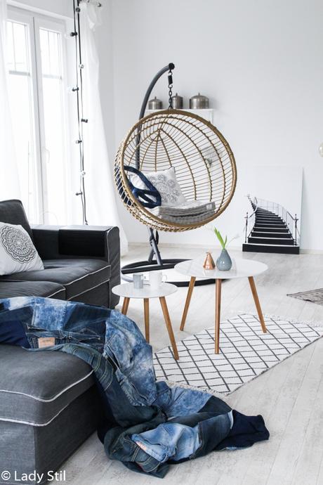 Jeansdecke DIY im Boholook, Beistelltische für das Wohnzimmer im Scandi-Stil
