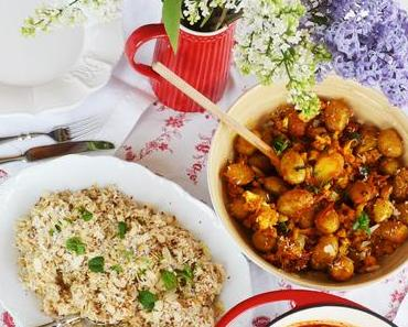 Indisches Festessen! Chana Masala, Aloo Gobi und Kokos-Mandel-Reis