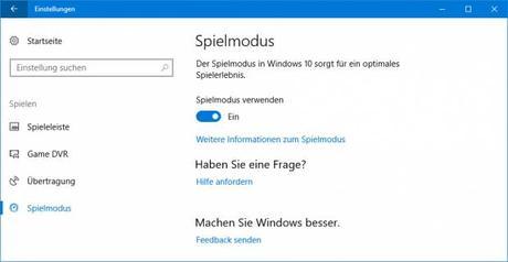 Der Spielmodus von Windows 10 1703