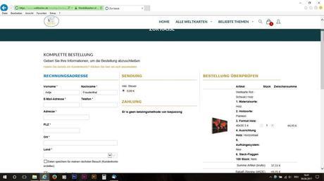 Im Warenkorb Adresse und Zahlart eingeben, danach die Bestellung überprüfen.
