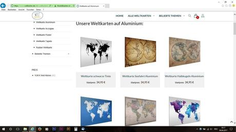 Die Weltkarten auf Aluminium.
