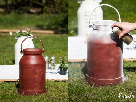 DIY: Milchkanne mit Foto Transfer & Sprayfarbe aufhübschen