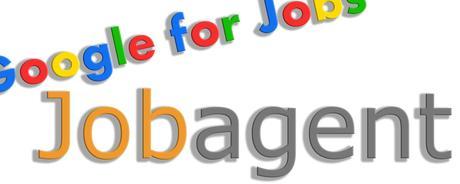 Schriftzug Google for Jobs und Jobagent auf weissem Hintergrund