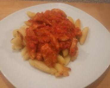 Schupfnudeln mit Paprika-Hähnchen-Sauce
