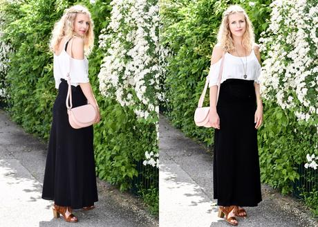 Outfit mit Off-Shoulder Bluse und Maxirock