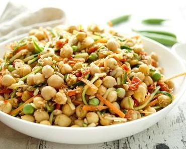 Veganer Kicherebsensalat mit Zucchini und Karotte