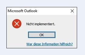 Tutorial: Outlook Fehler – Nicht implementiert