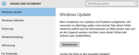 Update KB4034658 für Windows 10 1607 macht Probleme