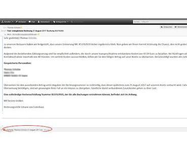 Fake Rechnung von Ebay- Post von Herrn Eulenhaus