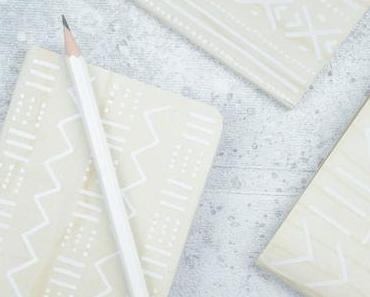 DIY Notizbuch gestalten: Mudcloth-Muster & Holz