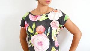 Kimono nähen deutsche Anleitung Damen T-Shirt kostenlosem Schnittmuster