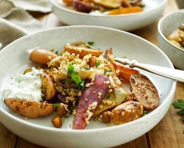 Marokkanisches Ofengemüse mit Kichererbsen und Bulgur