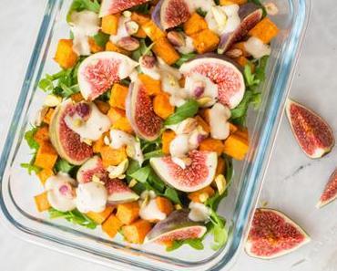 Essen unterwegs: Salat mit Süßkartoffeln und Zitronen-Mus-Dressing (vegan & glutenfrei)