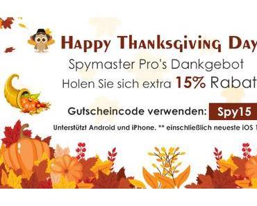 """Genießen Sie 15% Rabatt von Spymaster Pro: Es ist """"Happy Thanksgiving Day""""!"""
