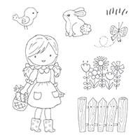 Garden Girl Clear-Mount Stamp Set