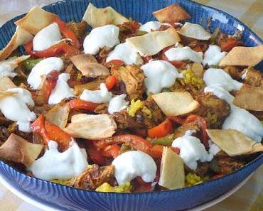 Schawerma mit Reis und Brot - Shawerma Fattah
