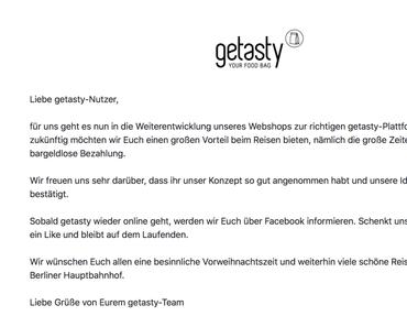 GETASTY – Your Food Bag – Test abgeschlossen und Laden im Hbf geschlossen.