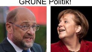 GroKo geht weiter Tandem Merkel/Schulz, bedeutet Masseneinwanderung, Familiennachzug, Kriminalität, hohe Kosten viel GRÜNE Politik