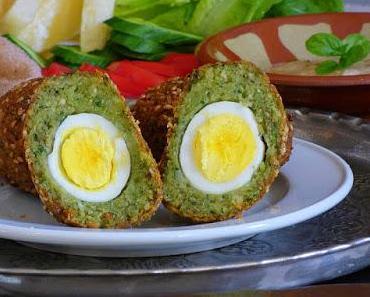 Vegetarische schottische Eier - Taameya bil bed