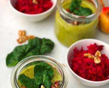 Bunter Frühlingsanfang mit feiner Erbsen-Spinat-Suppe & Rote-Bete-Salat