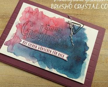 Geburtstagskarte mit Brusho Crystal Colors