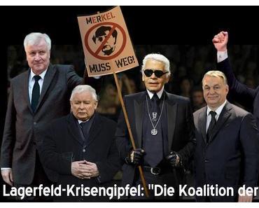 """Karl Lagerfeld kündigt """"größte Sanktionen aller Zeiten"""" gegen Angela Merkel an."""