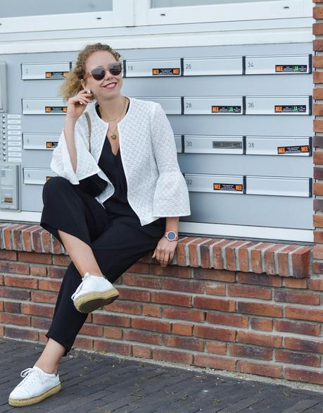 Outfit: Black Culottes, White Lace Jacket and Platform Raffia Sneakers
