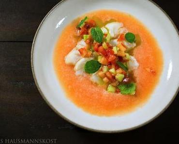 sommerlich, Ceviche und Melone mit Verjus
