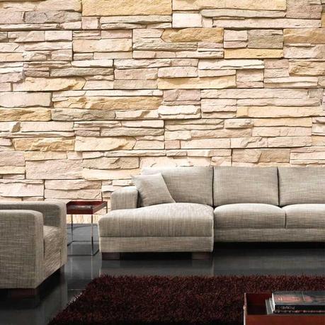 Atemberaubend Steinwand Tapete Wohnzimmer Design