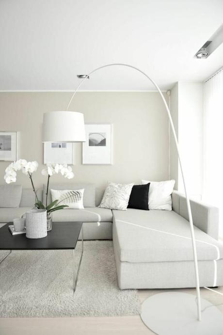 Glamourös Wohnzimmer Weiß Braun Design