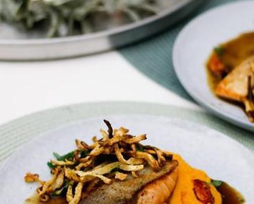 LIEBE GEHT DURCH DEN MAGEN! Teriyaki-Lachs mit cremigen Süßkartoffel-Kokosmilch-Püree und Selleriestroh