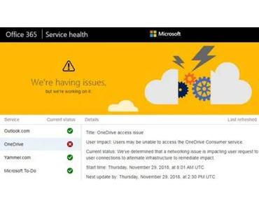 Microsoft-Cloud One Drive immer wieder gestört
