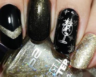 [Nails] Silvester-Nägel in schwarz-gold