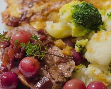 Schweinefilet in Trauben-Thymian-Sauce, Kartoffelgratin, Blumenkohl und Broccoli