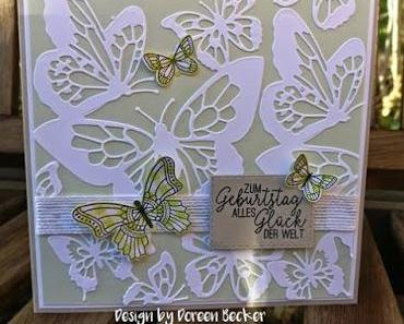 Geburtstagskarte fühlingshafte Schmetterlinge