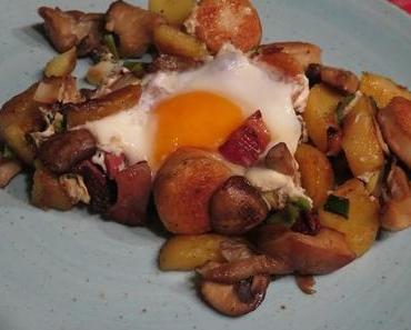 Kartoffel-Pilz-Bratwurst-Pfanne