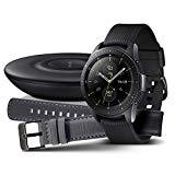 Samsung Galaxy Watch 42mm Bundle, schwarz + Charger und Lederarmband [Exklusiv bei Amazon]