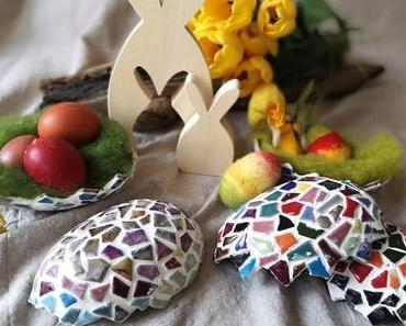 Basteltipps zu Ostern: Eierhälften mit Keramikscherben als Osternest  & mehr