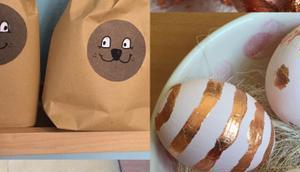 Zw🥚erl🥚um Huhn oder Last Minute Ostern: Hasentüten Verpacken Eier Blattmetall verzieren