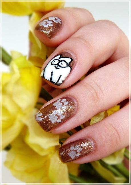 Simon's Cat Nailart frei Hand